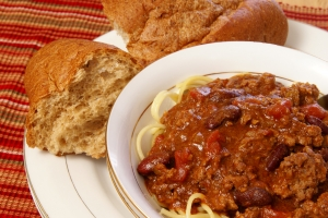 Royalty Free Image: Chili and Spaghetti