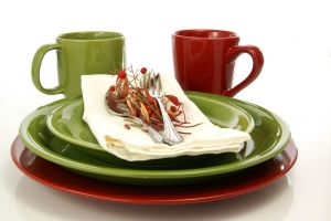 Stock Photo Thumbnail: Green and RedTableware