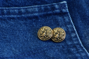 Royalty Free Image: Buttons on Denim