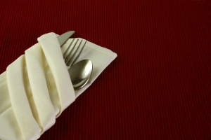 Stock Photo Thumbnail: Silverware in Napkin