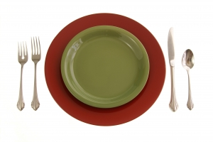 Royalty Free Image: Red and Green Table Setting