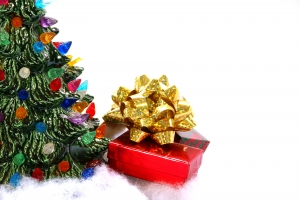 Royalty Free Image: Christmas Gifts and Ceramic Tree