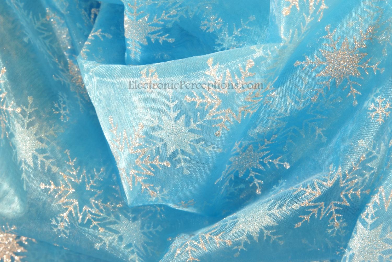 Blue Glitter Snowflake Fabric