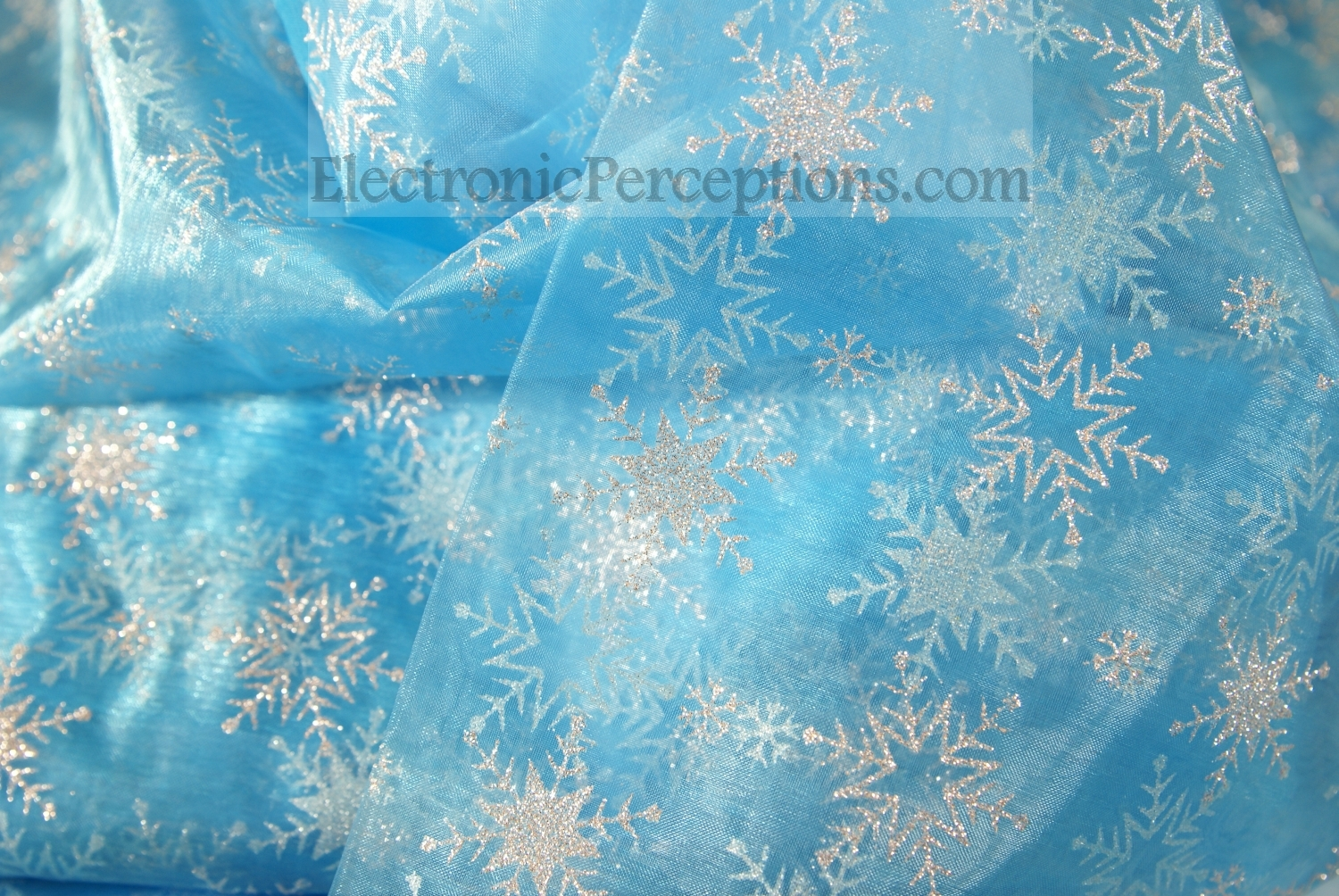 Sheer Blue Snowflake Fabric